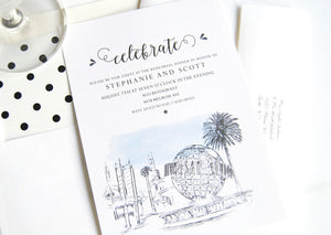Universal Studios Skyline Hand Drawn Rehearsal Dinner Invitations (set of 25 cards)