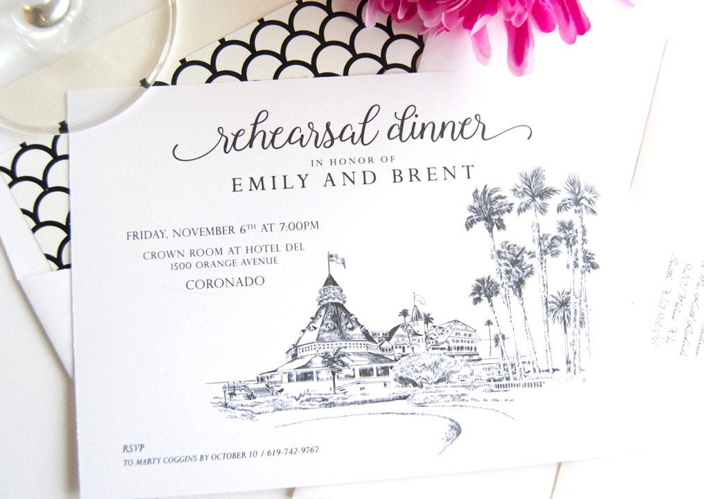 Hotel Del Coronado Skyline Rehearsal Dinner Invitations (set of 25 cards)