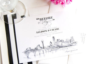 Dallas View with Bridge Skyline Weddings Rehearsal Dinner Invitations (set of 25 cards)