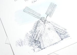 The Hamptons Hand Drawn Windmill  Save the Date Cards (set of 25 cards and white envelopes)