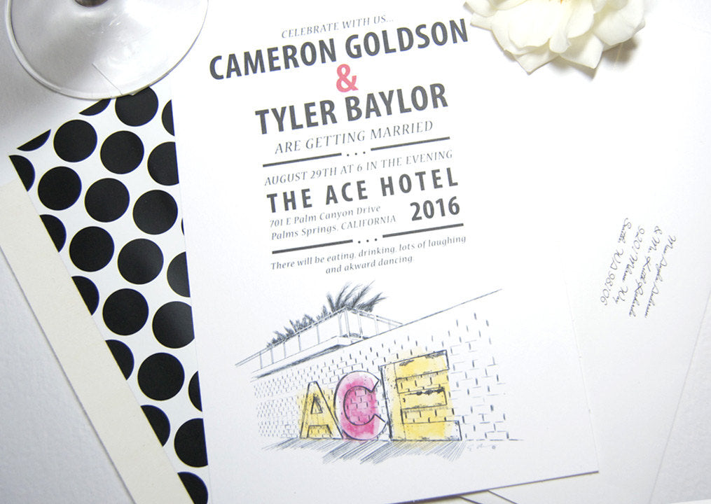 Ace Hotel Palm Springs Skyline Wedding Invitations Package (Sold in Sets of 10 Invitations, RSVP Cards + Envelopes)