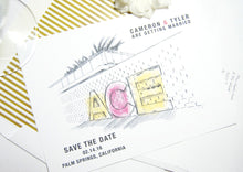 Load image into Gallery viewer, Ace Hotel Palm Springs Destination Wedding Hand Drawn Skyline Save the Date Cards (set of 25 cards and white envelopes)