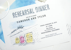 Ace Hotel Palm Springs Rehearsal Dinner Invitations (set of 25 cards)