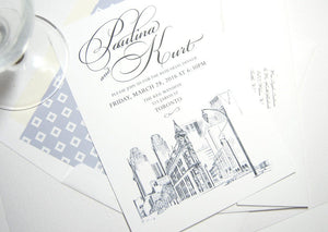 Toronto Flatiron Building Skyline Rehearsal Dinner Invitations (set of 25 cards)