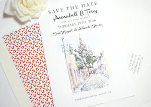 San Miguel, Mexico Skyline Destination Wedding Watercolors Save the Date Cards (set of 25 cards)