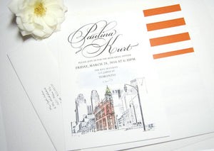 Toronto Flatiron Building Watercolor Skyline Rehearsal Dinner Invitations (set of 25 cards)
