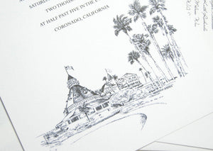 Hotel Del Coronado, San Diego Wedding Invitations, The Del, Destination Wedding, Coronado Wedding ( 10 Invitations, RSVP Cards + Envelopes)