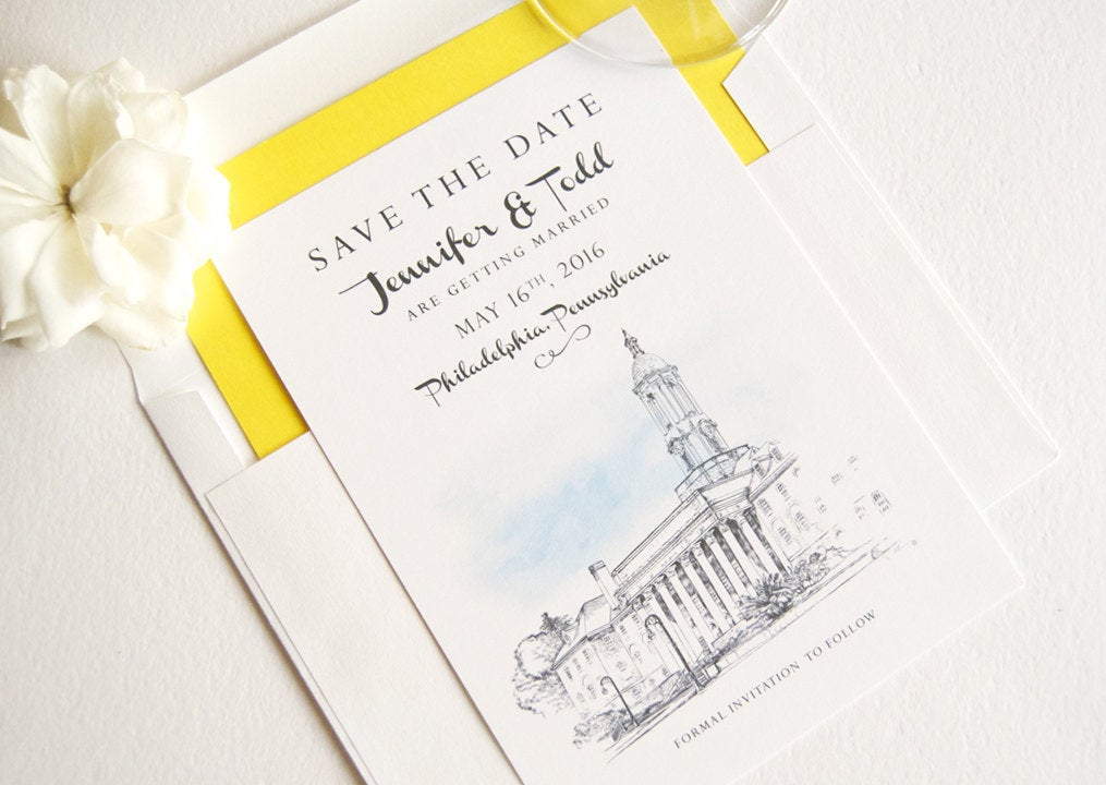 Penn State University Skyline Save the Date Cards (set of 25 cards and white envelopes)