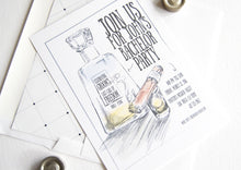 Load image into Gallery viewer, Bachelor Party Invitations Tequila and Cigar Watercolor , Birthday Party (set of 25 cards and white envelopes)