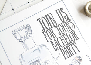 Bachelor Party Invitations Tequila and Cigar Watercolor , Birthday Party (set of 25 cards and white envelopes)