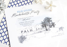 Load image into Gallery viewer, Palm Springs Sign Skyline Hand Drawn Bachelorette Party Invitations (set of 25 cards)