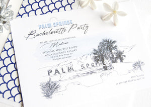 Palm Springs Sign Skyline Hand Drawn Bachelorette Party Invitations (set of 25 cards)