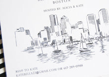 Load image into Gallery viewer, Boston Skyline Hand Drawn Bachelorette Party Invitations (set of 25 cards)