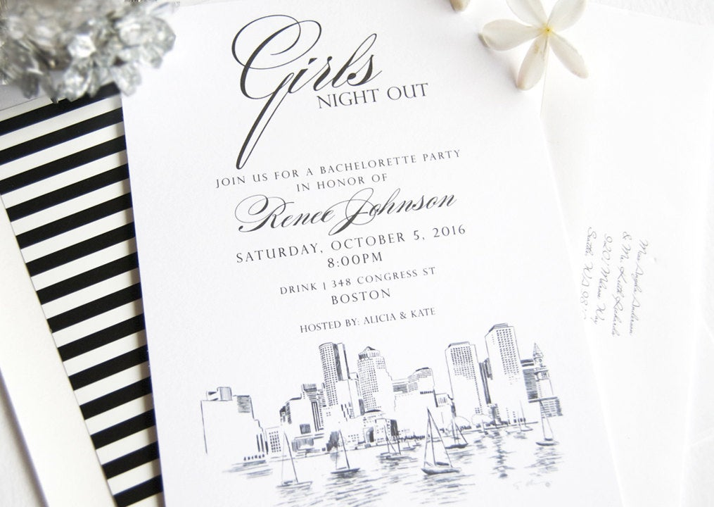 Boston Skyline Hand Drawn Bachelorette Party Invitations (set of 25 cards)
