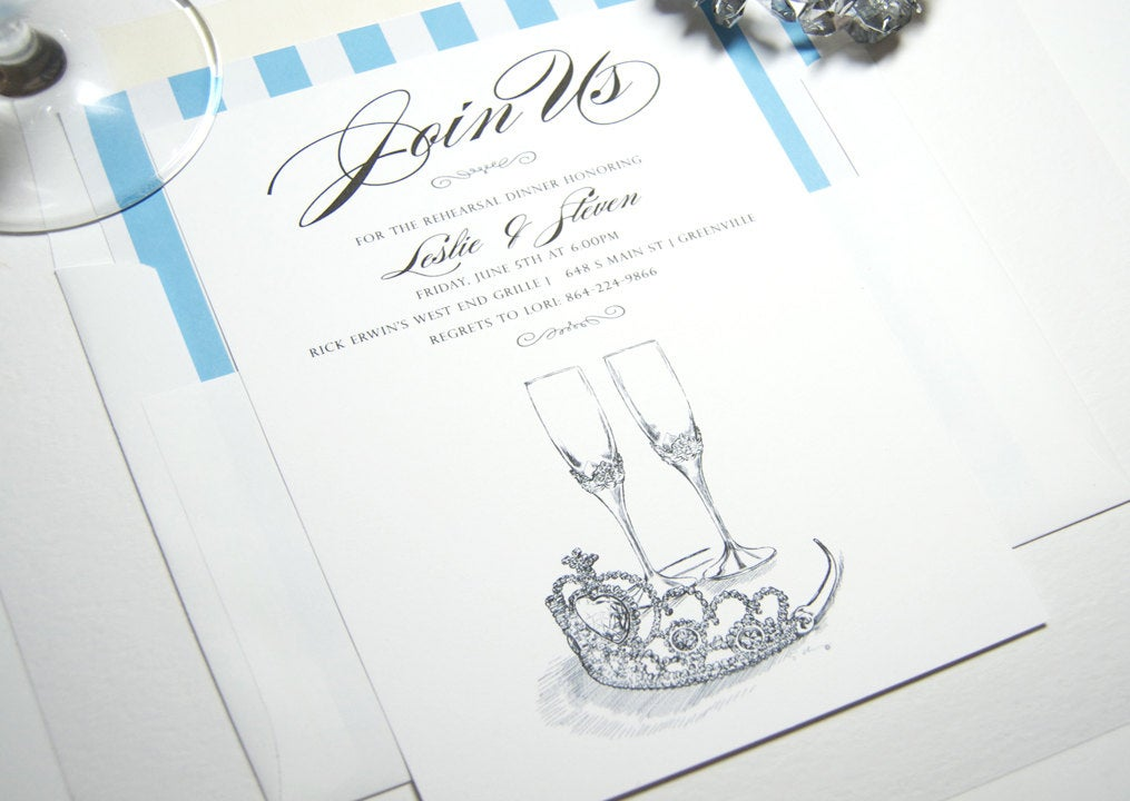 Fairytale Wedding, Disney, Tiara and Champagne Glasses Rehearsal Dinner Invitations (set of 25 cards)