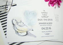 Load image into Gallery viewer, Aladdin Fairytale Wedding, Disney Inspired Save the Date Cards (set of 25 cards)