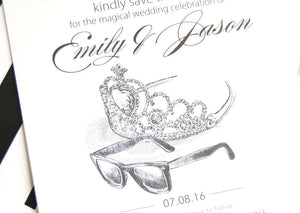 Fairytale Wedding, Tiara and Sunglasses, Princess Diaries, Disney Wedding Save the Date Cards (set of 25 cards)