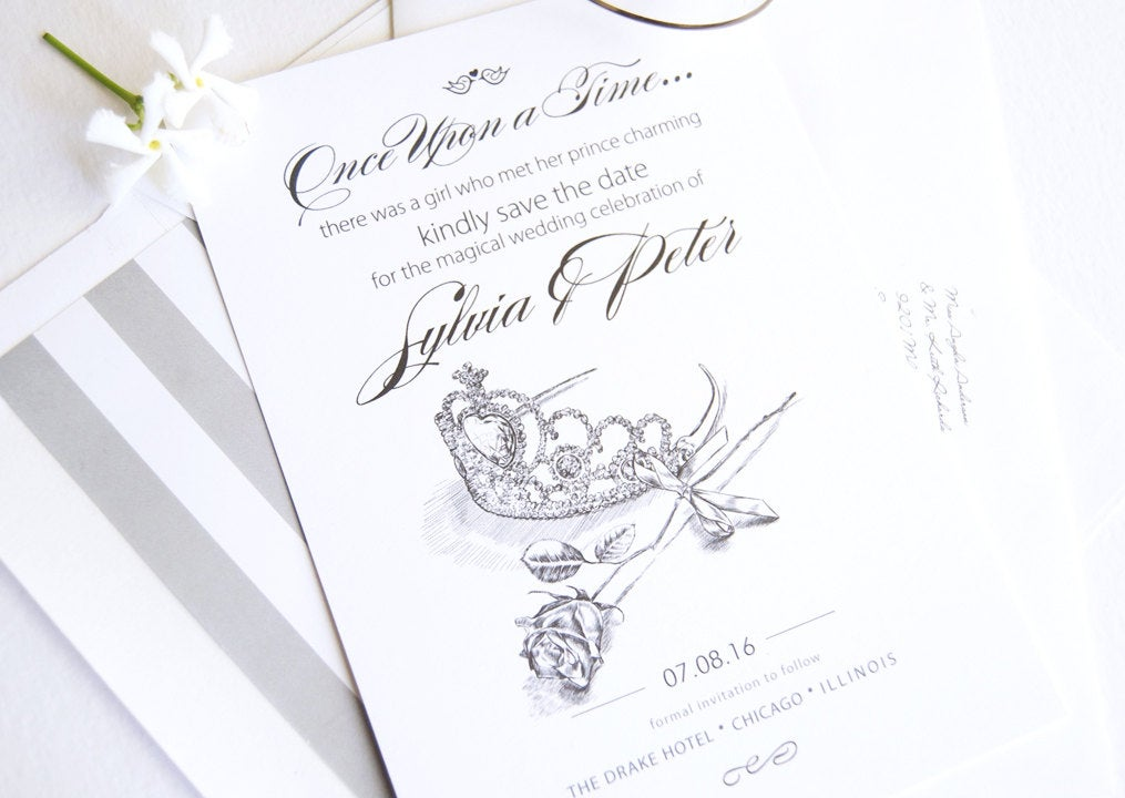 Fairytale Wedding, Cinderella Tiara and Rose, Princess, Disney Wedding Save the Date Cards (set of 25 cards)