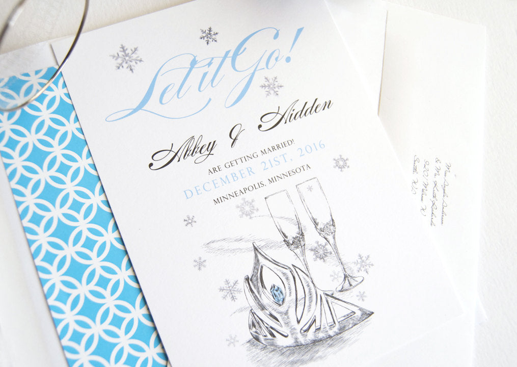 Frozen Wedding Invitations, Snowflake, Winter Theme, Disney Inspired Fairytale Save the Date Cards (set of 25 cards)