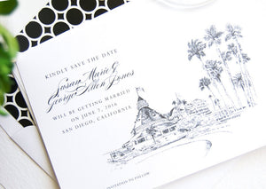 Hotel Del Coronado Hand Drawn Save the Date Cards (set of 25 cards)