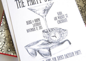 Bachelor Party Invitations, Martini Glass, Sunglasses and Watch, Birthday Party (set of 25 cards and white envelopes)