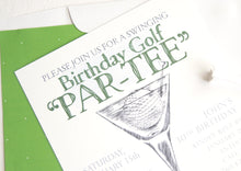 Load image into Gallery viewer, Birthday Party Invitations, Party Invitations Golf Par-Tee, (set of 25 cards and white envelopes)