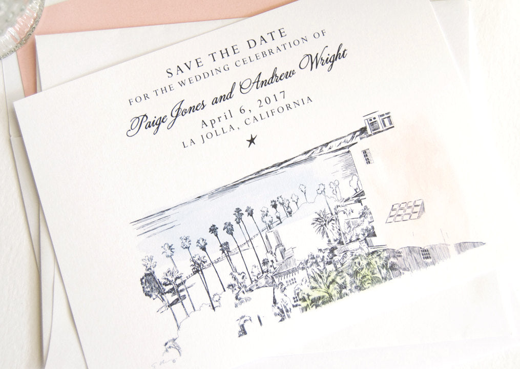 La Jolla Skyline Watercolor Save the Dates (set of 25 cards)