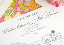Load image into Gallery viewer, Thursday Club, San Diego, Ocean Beach Hand Drawn Save the Date Cards (set of 25 cards)