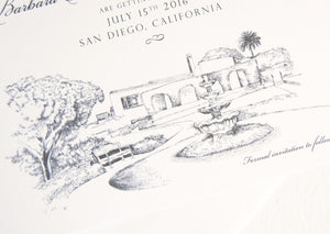Thursday Club, San Diego, Ocean Beach Hand Drawn Save the Date Cards (set of 25 cards)