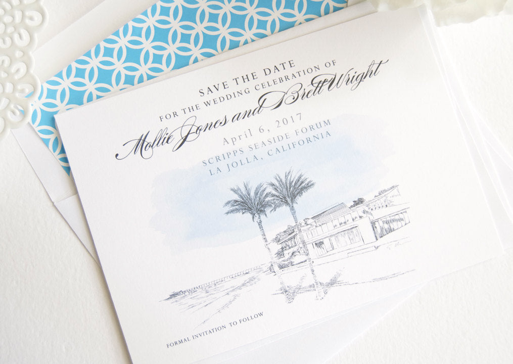 Scripps Seaside Forum, La Jolla, San Diego Skyline Hand Drawn Save the Date Cards (set of 25 cards)