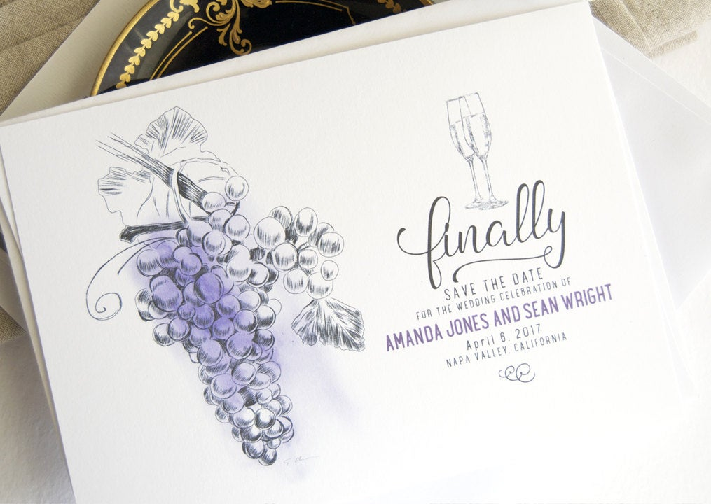 Vineyard, Napa Valley Skyline Hand Drawn Save the Date Cards (set of 25 cards)