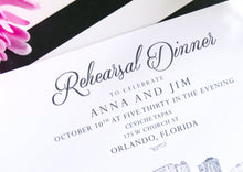 Load image into Gallery viewer, Orlando Skyline Rehearsal Dinner Invitation, Hand Drawn (set of 25 cards)