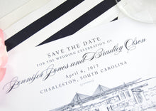 Load image into Gallery viewer, Charleston Save the Dates, Charleston Skyline, Charleston Wedding, Charleston Bridge, STD, South Carolina Save the Date Cards (set of 25)