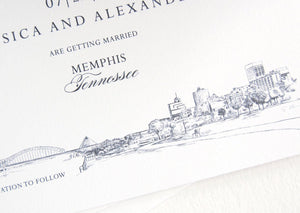 Memphis Skyline, Pyramid, Bridge, Tennessee Save the Date Cards (set of 25 cards)