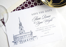 Load image into Gallery viewer, Independence Hall, Philadelphia Skyline Save the Dates (set of 25 cards)