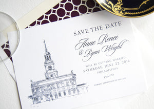 Independence Hall, Philadelphia Skyline Save the Dates (set of 25 cards)