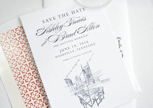 Load image into Gallery viewer, Nashville Skyline, Aerial Rooftop, Tennessee Save the Dates (set of 25 cards)
