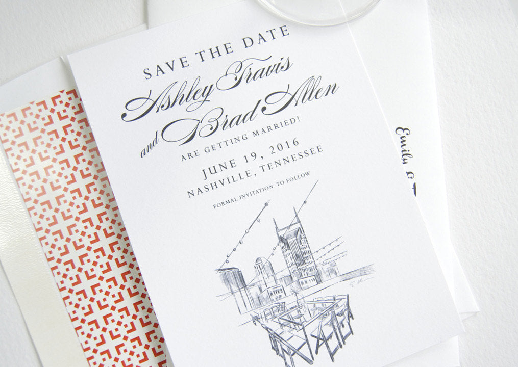 Nashville Skyline, Aerial Rooftop, Tennessee Save the Dates (set of 25 cards)