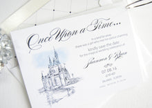 Load image into Gallery viewer, Fairytale Wedding, Cinderella's Castle, Disney Inspired World Resort, Orlando Wedding Watercolor Save the Date Cards (set of 25 cards)