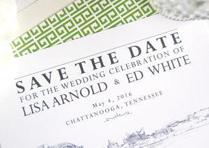 Chattanooga Skyline Save the Dates, Chattanooga Wedding Save the Date Cards (set of 25 cards)