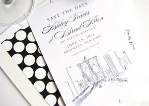 Brooklyn Bridge Skyline Save the Date Cards (set of 25 cards)