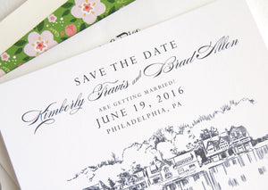 Boathouse Row, Philadelphia Wedding Skyline Save the Dates, Save the Date Cards (set of 25 cards and white envelopes)