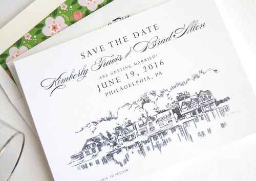 set of 25 cards and white envelopes Skyline Save the Dates San Jose Wedding Save the Date Cards