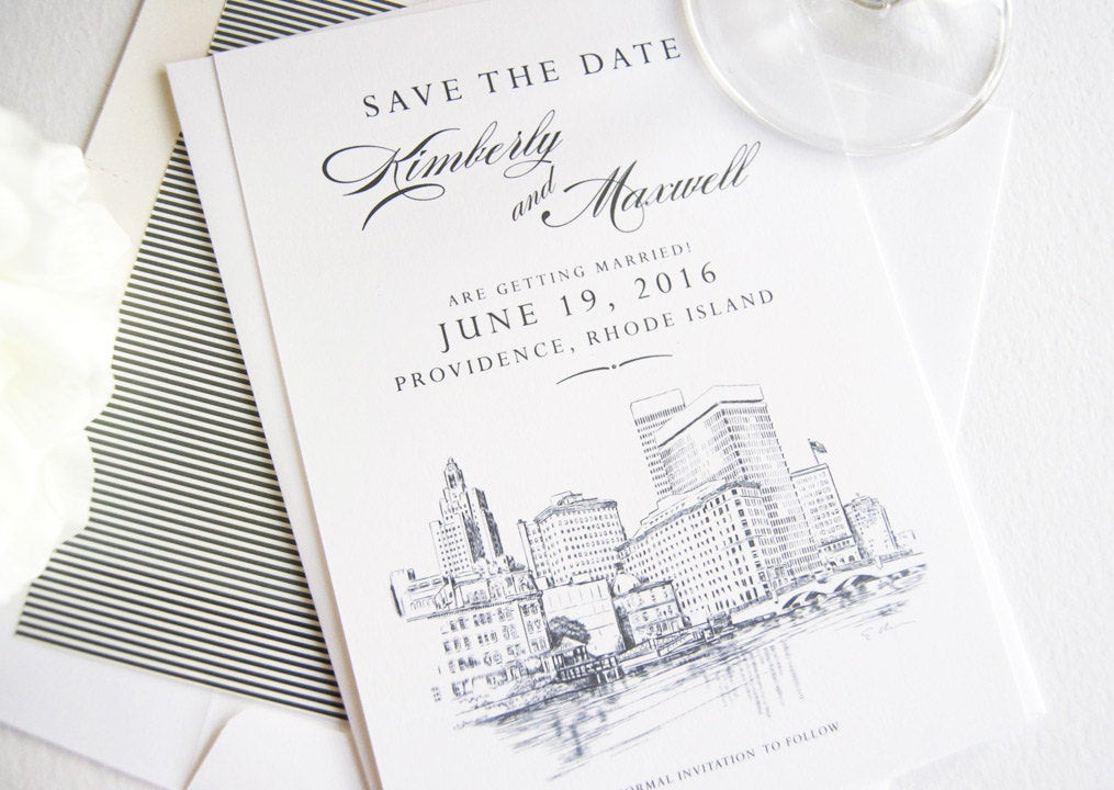 Providence Wedding Skyline Save the Date Cards (set of 25 cards)
