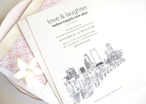 Jacksonville Skyline Rehearsal Dinner Invitations (set of 25 cards)