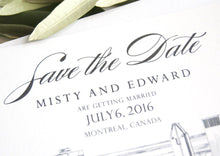 Load image into Gallery viewer, Montreal Skyline Wedding Save the Date Cards (set of 25 cards)