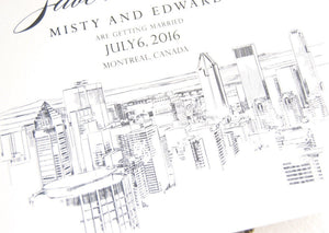Montreal Skyline Wedding Save the Date Cards (set of 25 cards)
