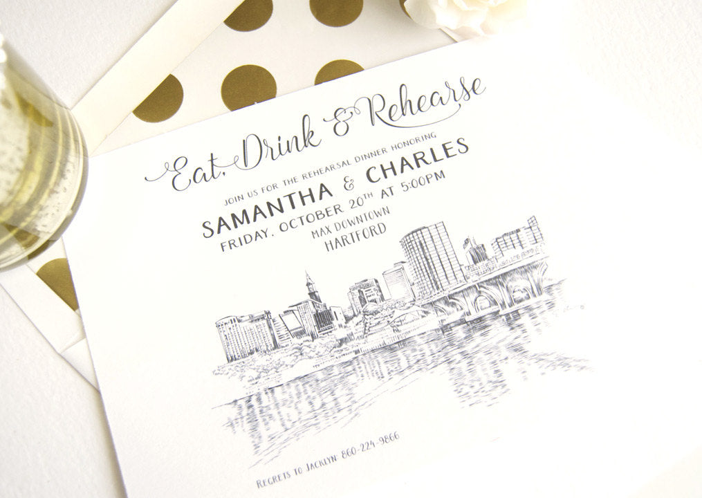 Hartford, Conneticut Skyline Weddings Rehearsal Dinner Invitations (set of 25 cards)
