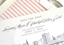 Load image into Gallery viewer, Hartford, Conneticut Skyline Save the Date Cards (set of 25 cards and white envelopes)