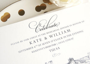 Tulsa Skyline Weddings Rehearsal Dinner Invitations (set of 25 cards)